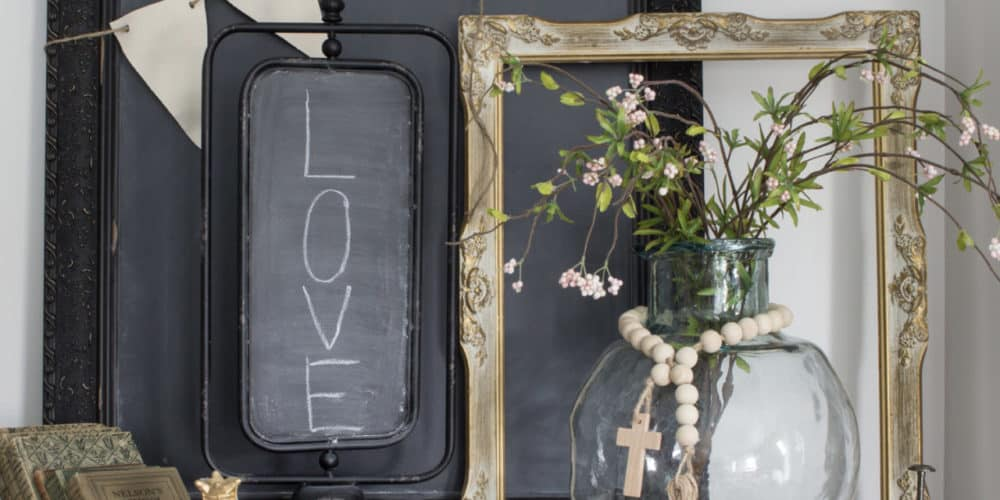 metal chalkboard on stand