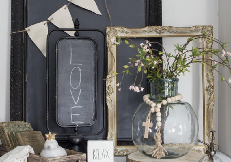 metal chalkboard on stand