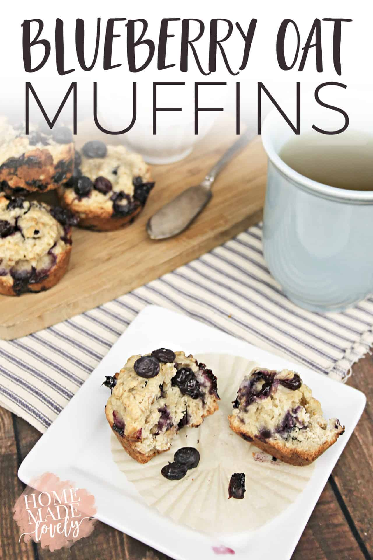 Make these yummy, family-favorite blueberry oat muffins for breakfast or a quick snack!