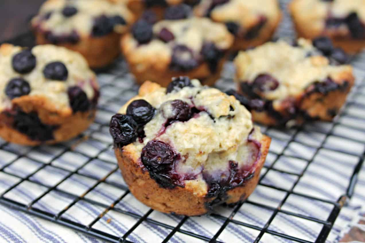 blueberry oat muffins on cooling rack