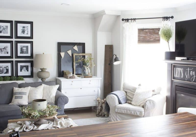 farmhouse living room from kitchen