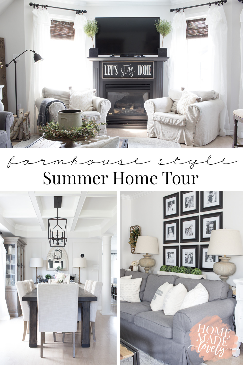 Love farmhouse style? Here's the farmhouse style summer home tour of our living room and dining room. Maybe it will give you some ideas for your own home this summer!