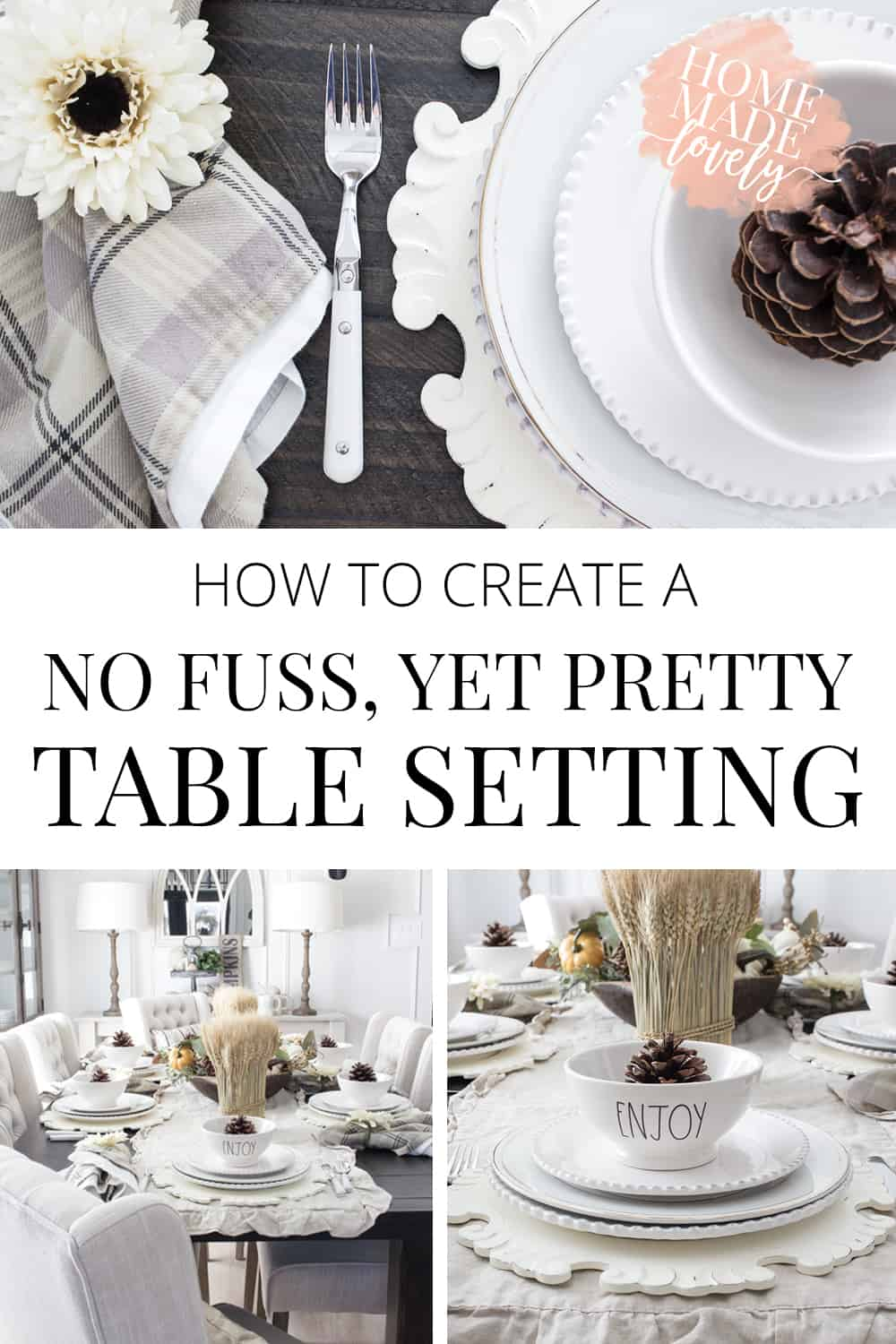 How to Create a No Fuss, Pretty Table Setting pin