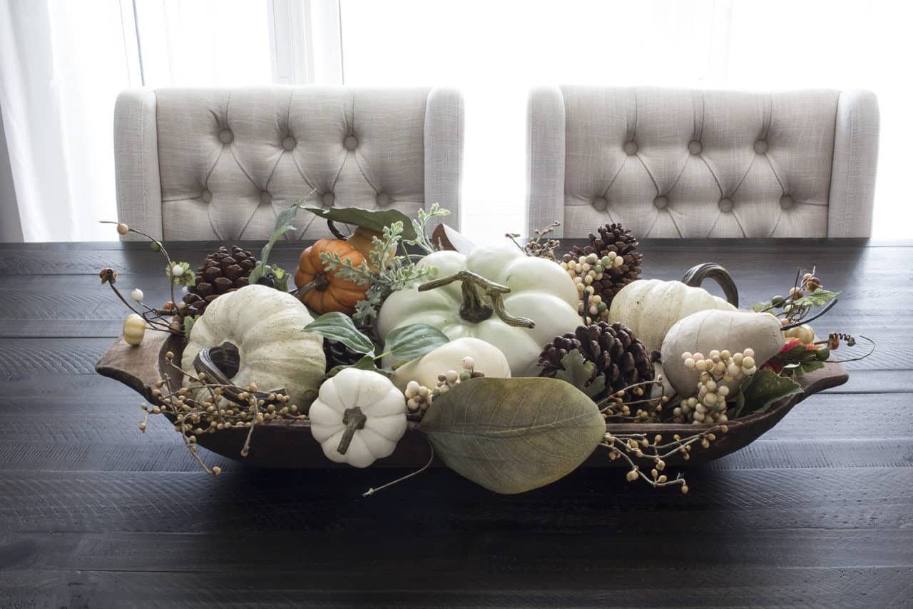 fall centerpiece farmhouse dough bowl