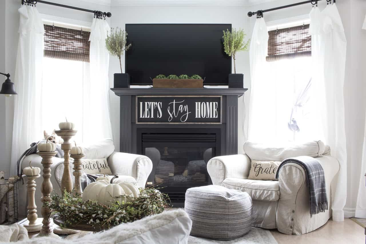 fall fireplace in living room