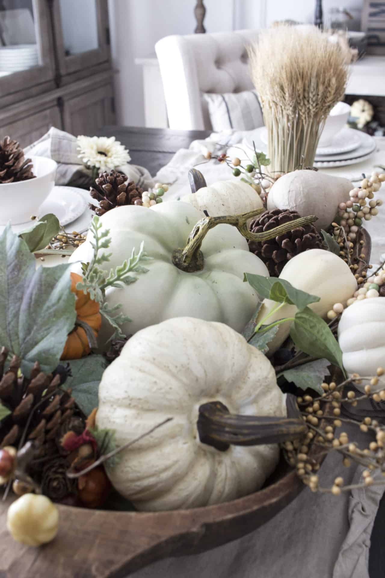 fall pumpkins in dough bowl centerpiece