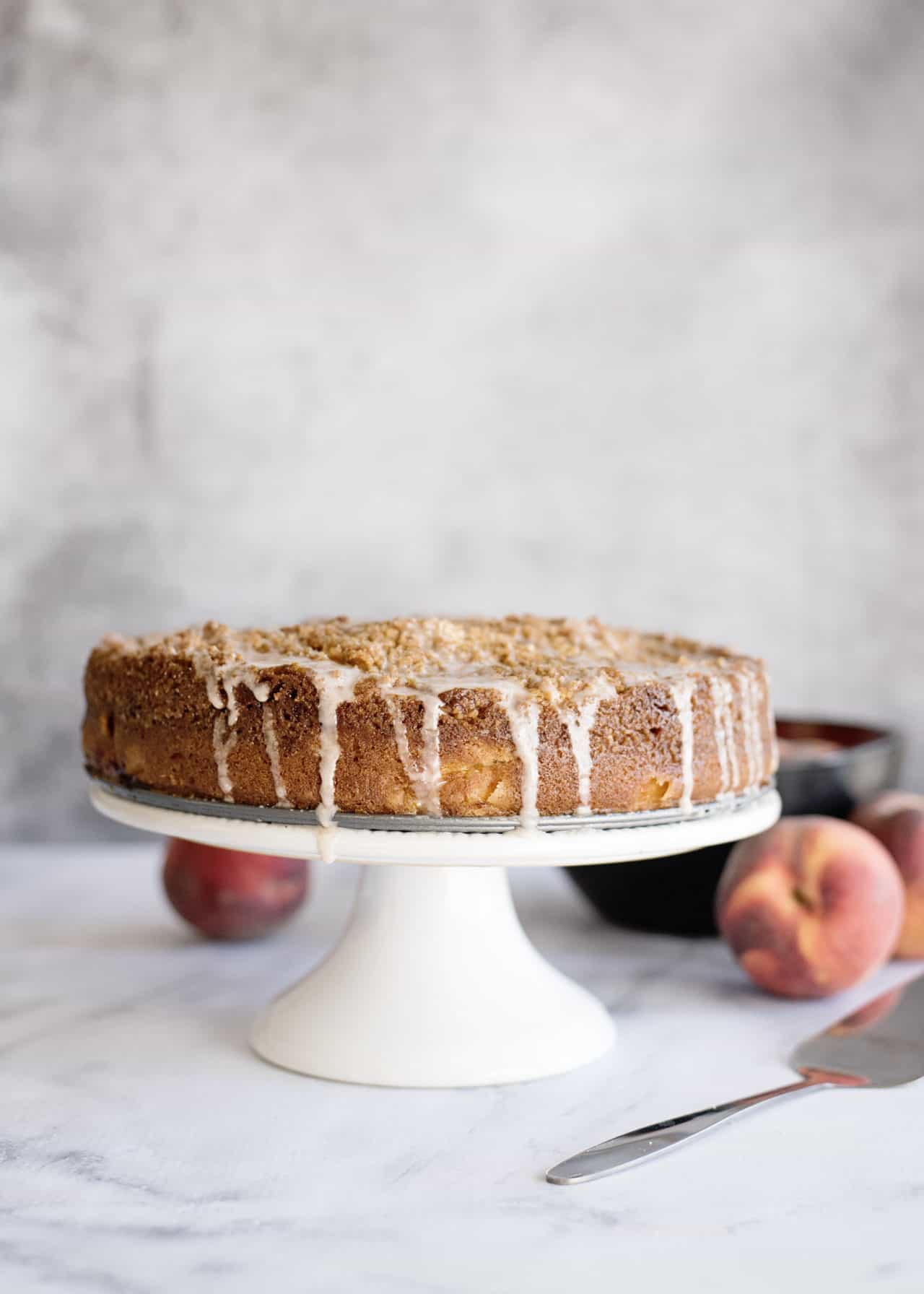 glazing peach coffee cake 2
