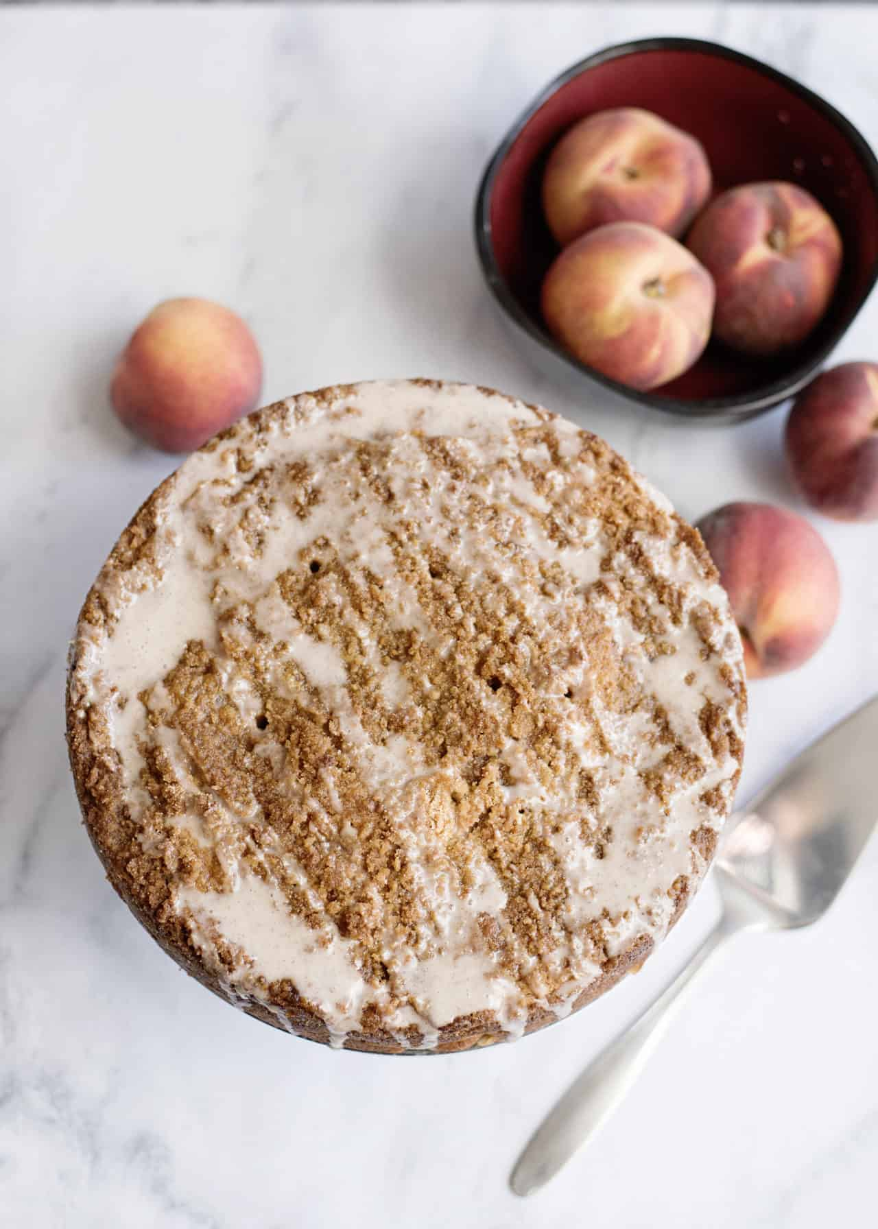 glazing peach coffee cake