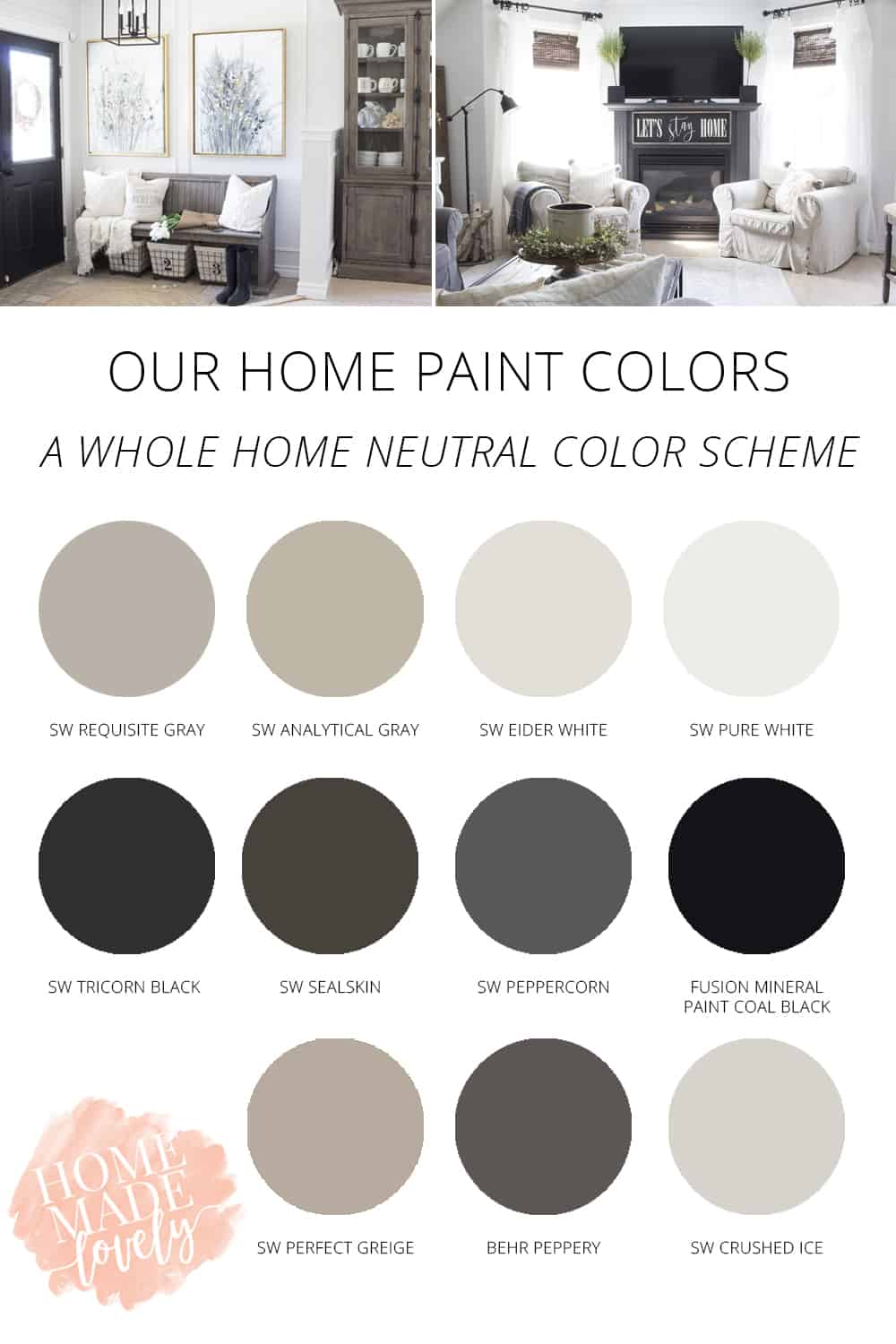our home paint colors - neutral color palette