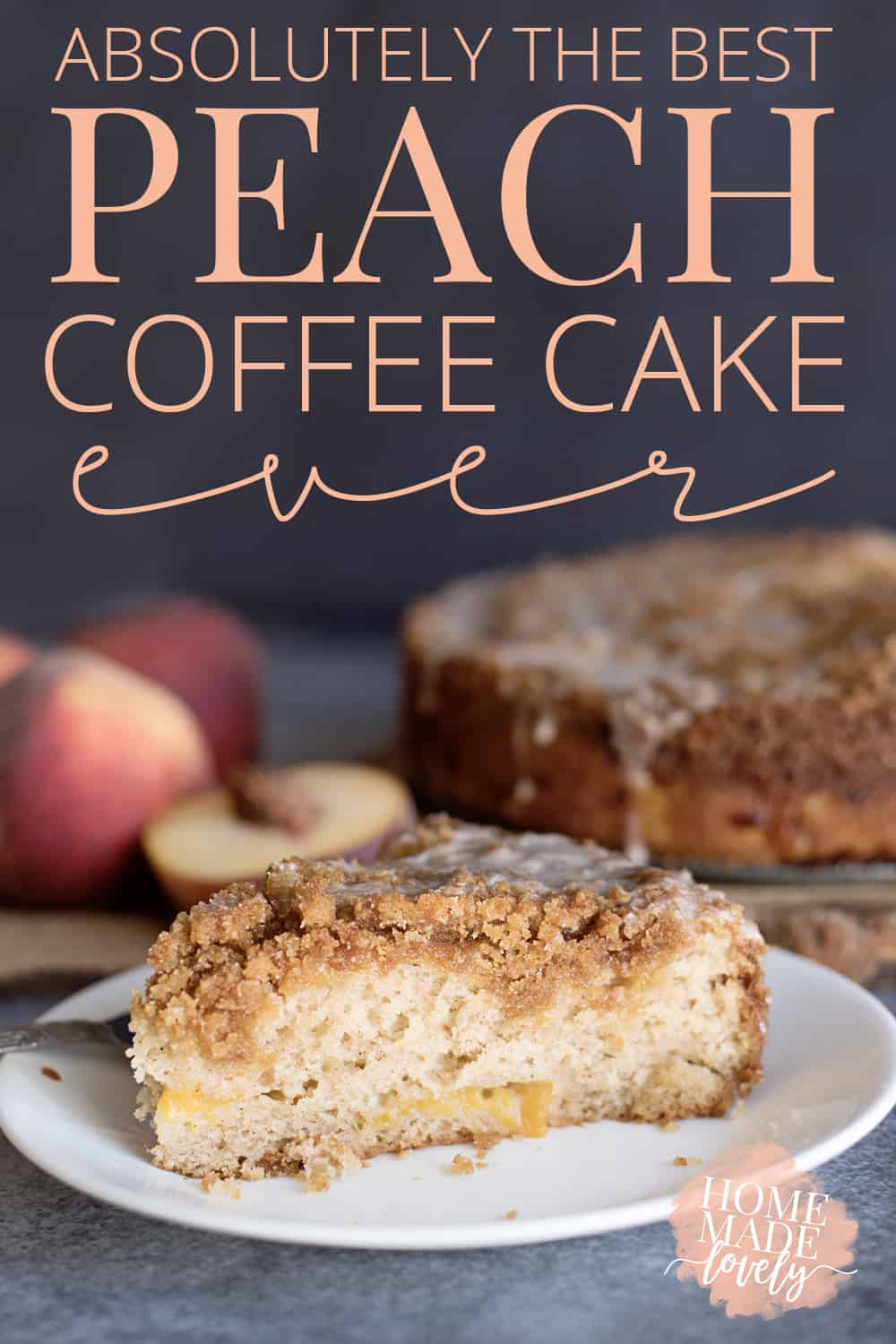 Although it's not inherently a fall dessert, this homemade peach coffee cake is absolutely the best ever! Plus, technically the colors are still very autumnal!