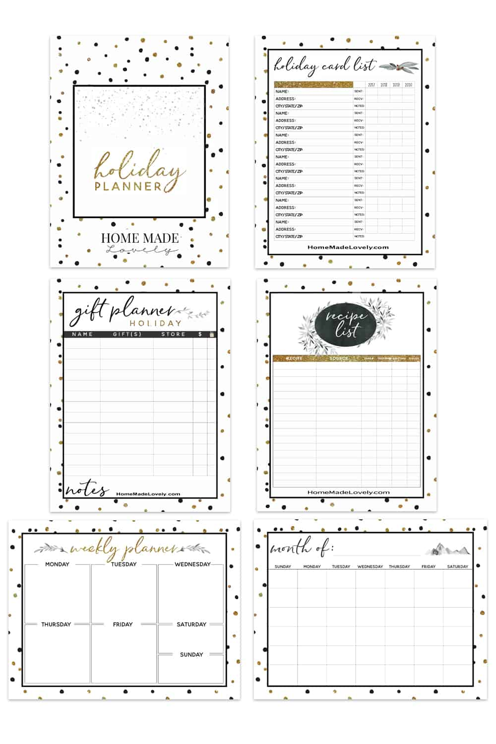 HML Undated Free Holiday Planner Pack Sample Pages