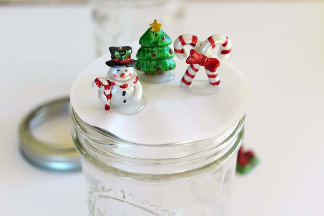hot glued ornaments to mason jar lid