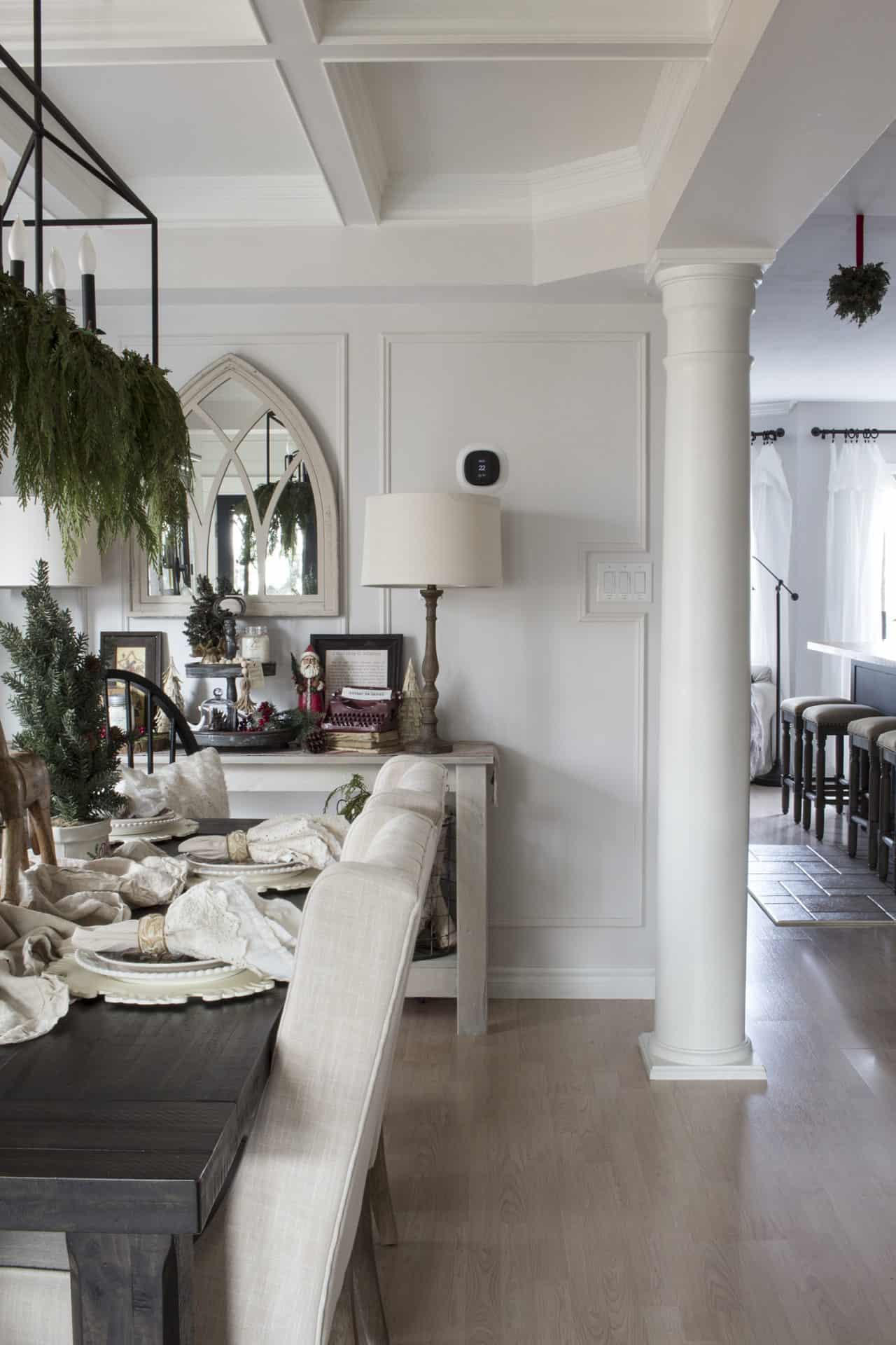 farmhouse Christmas dining room trim detail