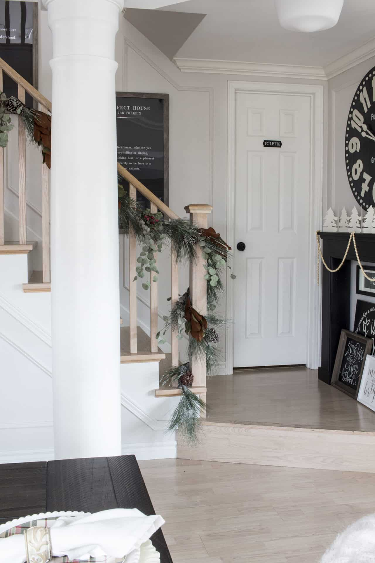 landing and bathroom door for Christmas