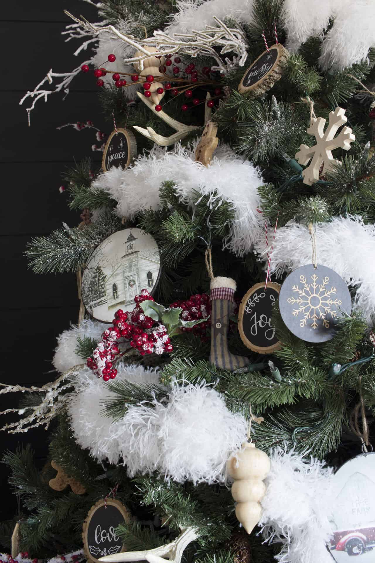 modern farmhouse Christmas tree detail and ornaments