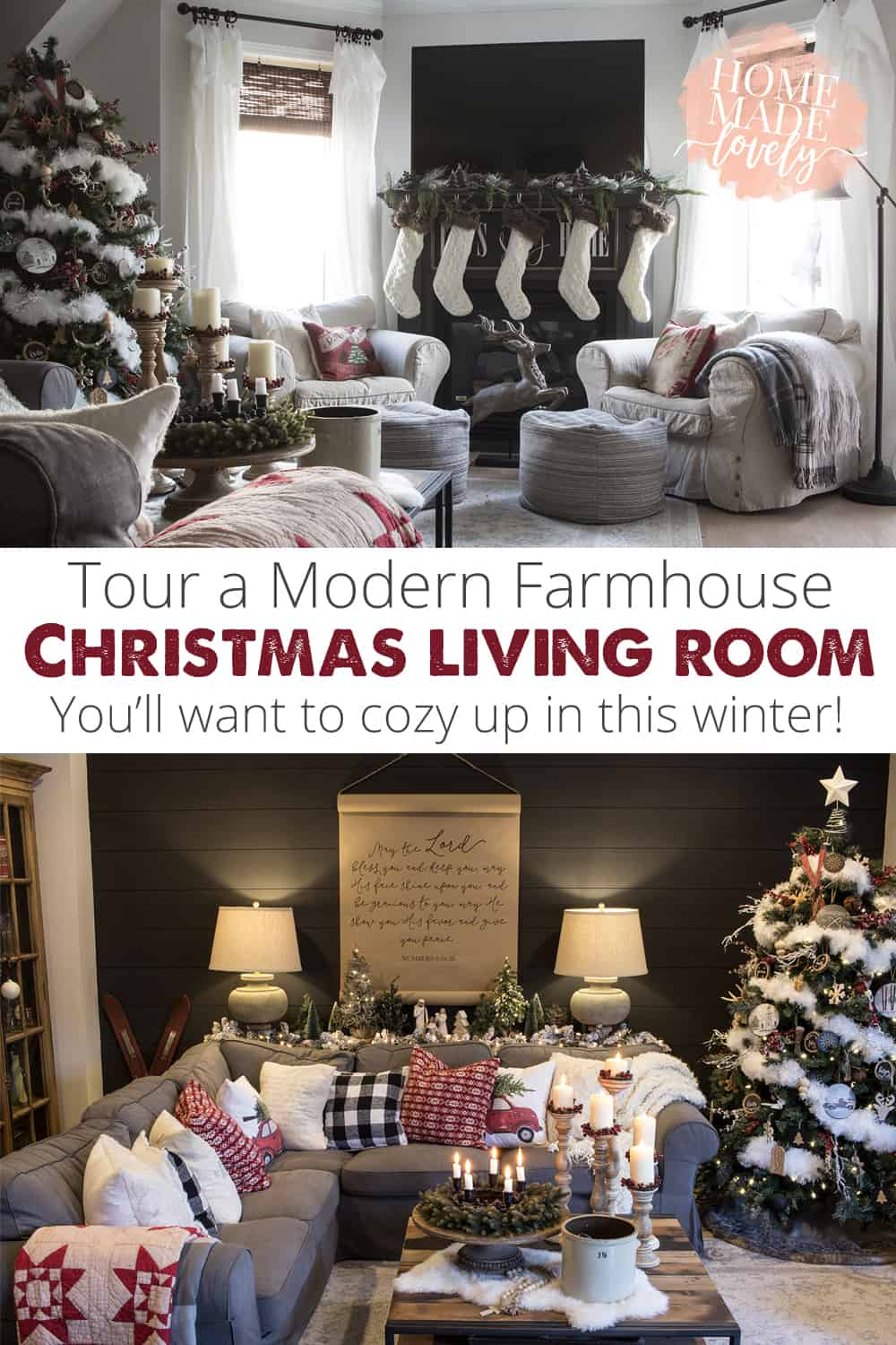 modern farmhouse christmas living room pin