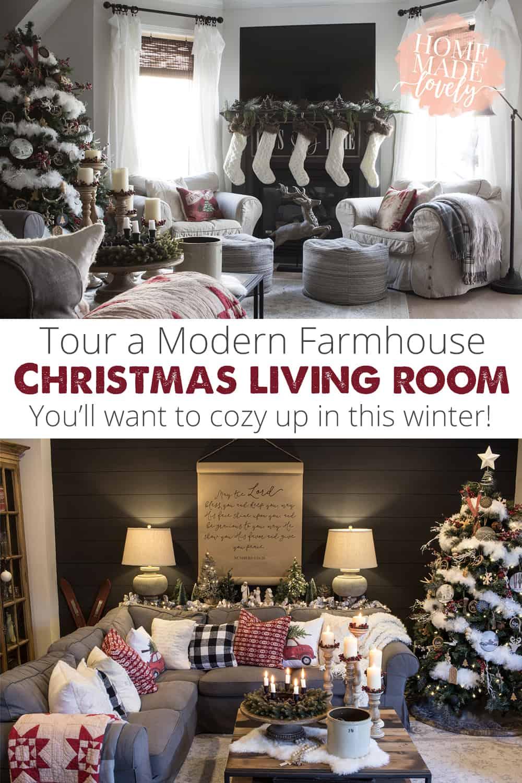 modern farmhouse christmas living room pin