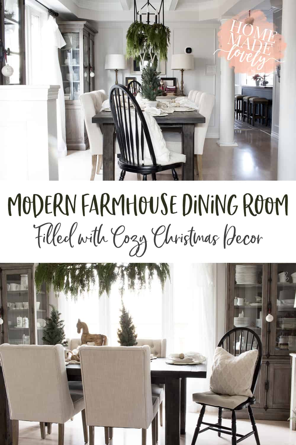 modern farmhouse dining room with Christmas pin