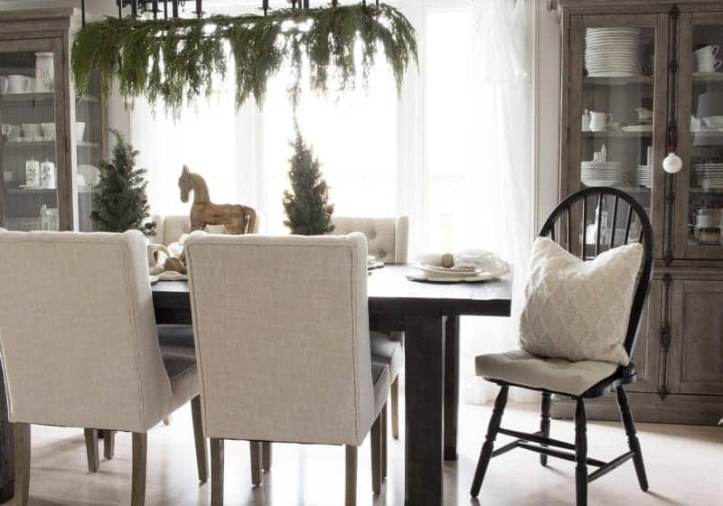 neutral farmhouse style Christmas dining room