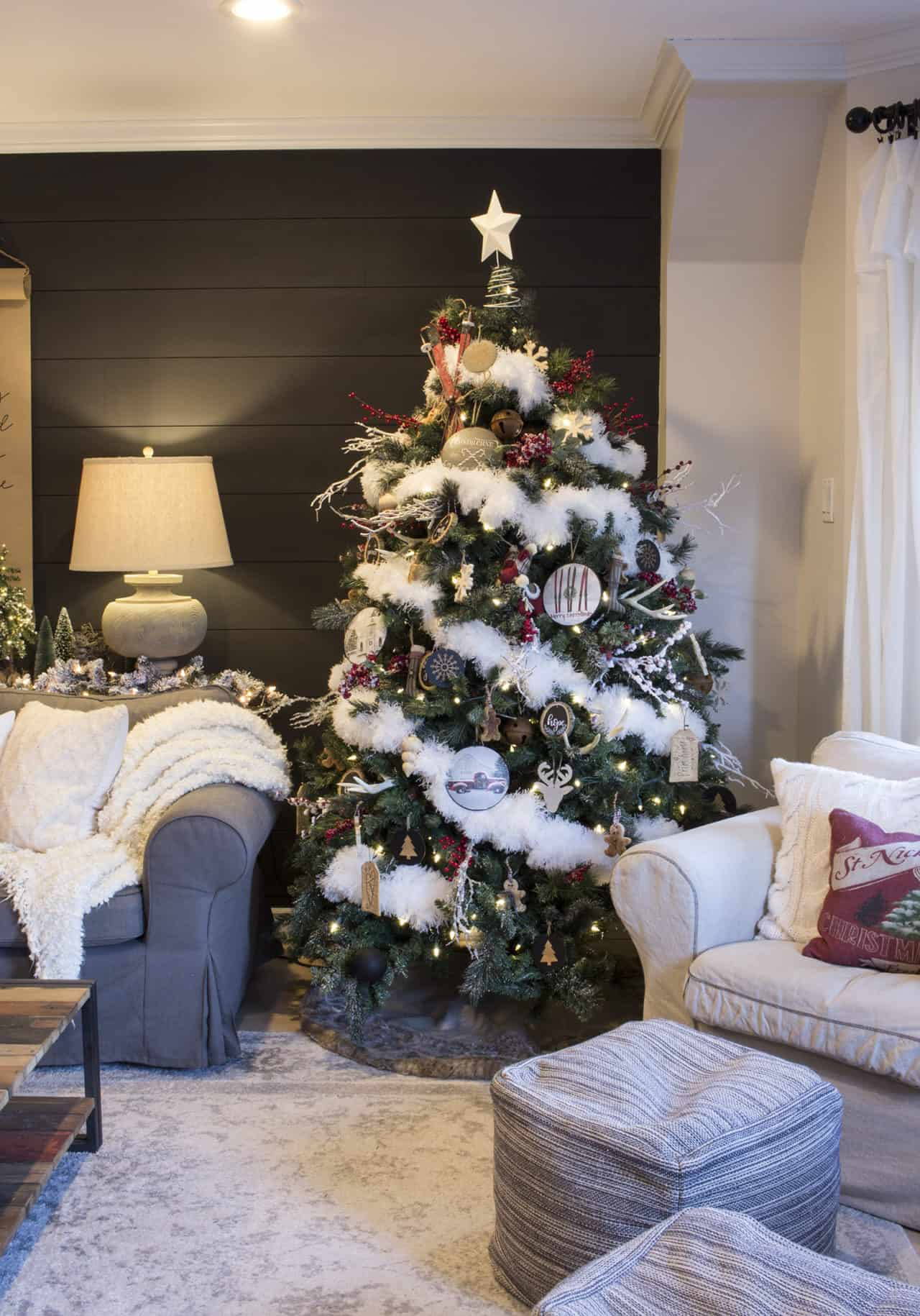 snowy rustic Christmas tree