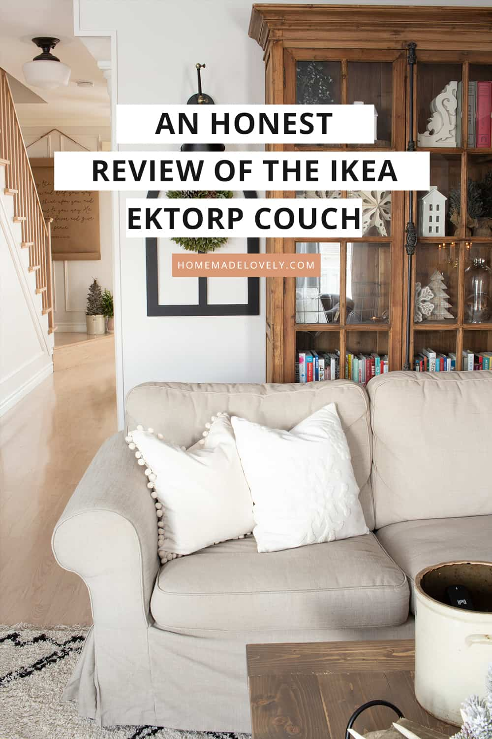 Ikea Ektorp couch with text overlay about the reiew