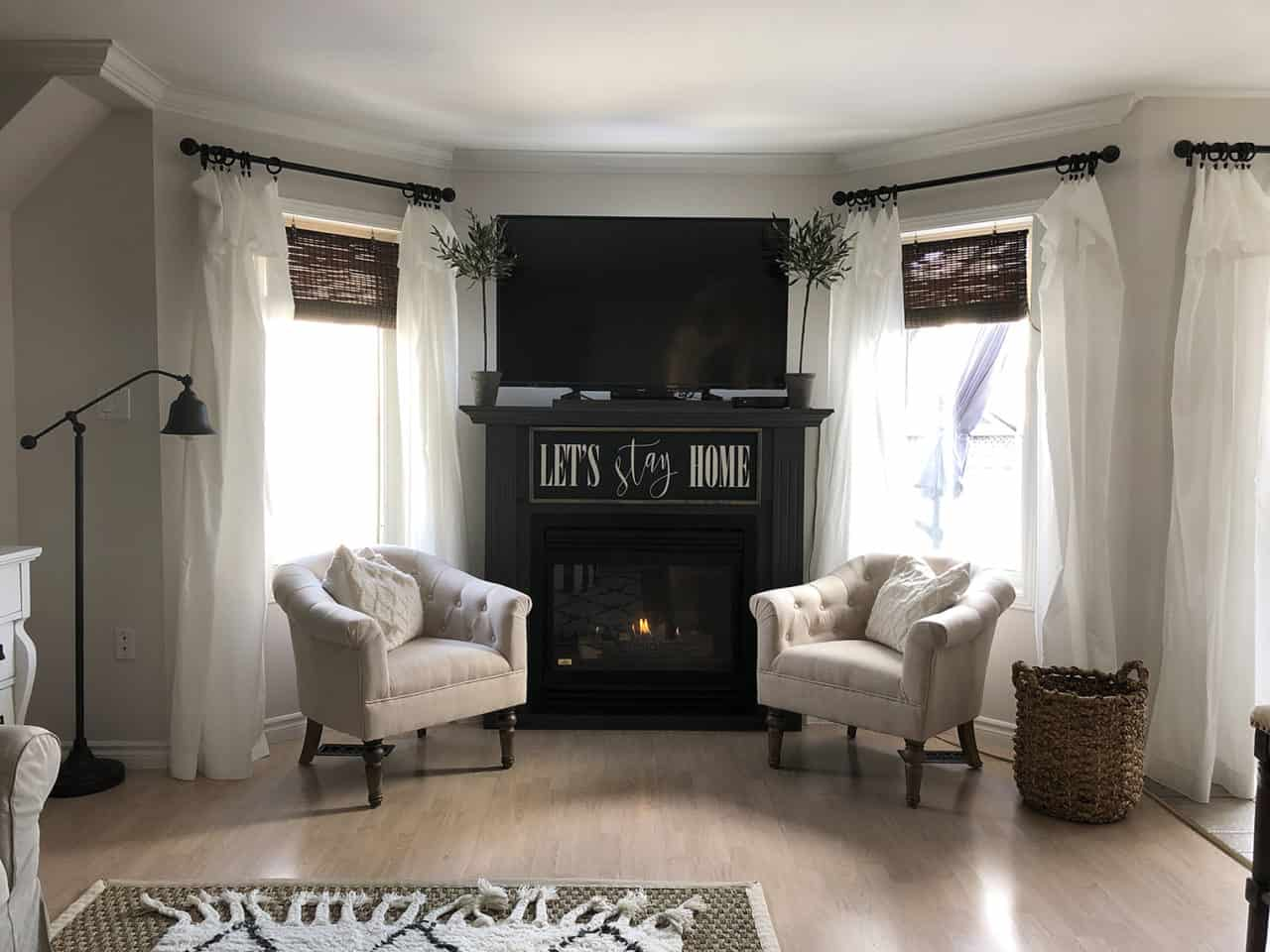 Lordana Barrel Chairs by fireplace day