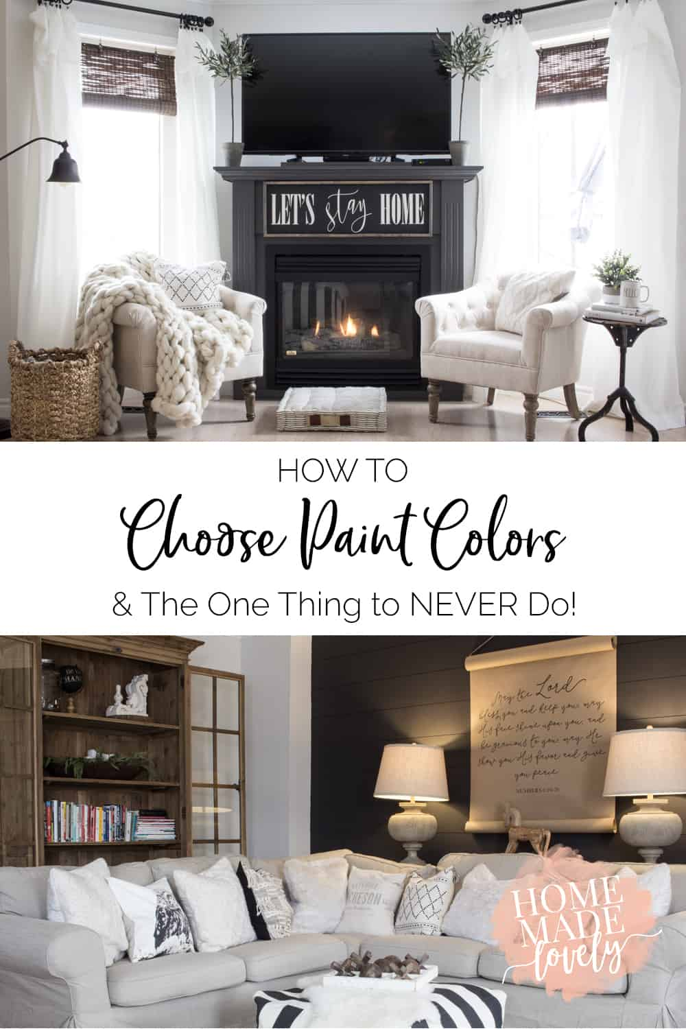 how to choose paint colors pin graphic with fireplace and couch photos to illustrate colors
