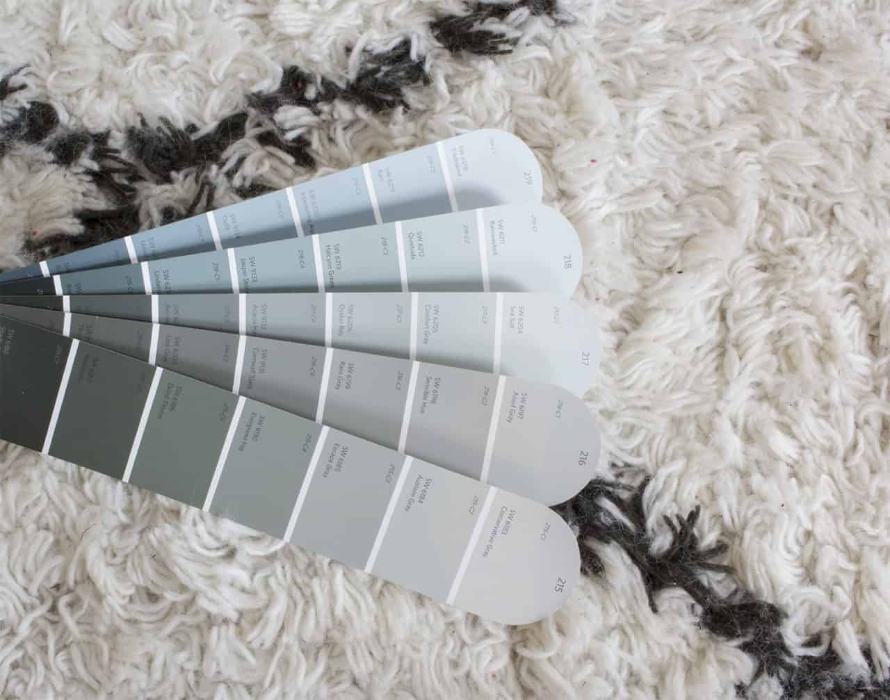 blue gray paint swatches laying on a rug, to show undertones at the bottom of each swatch