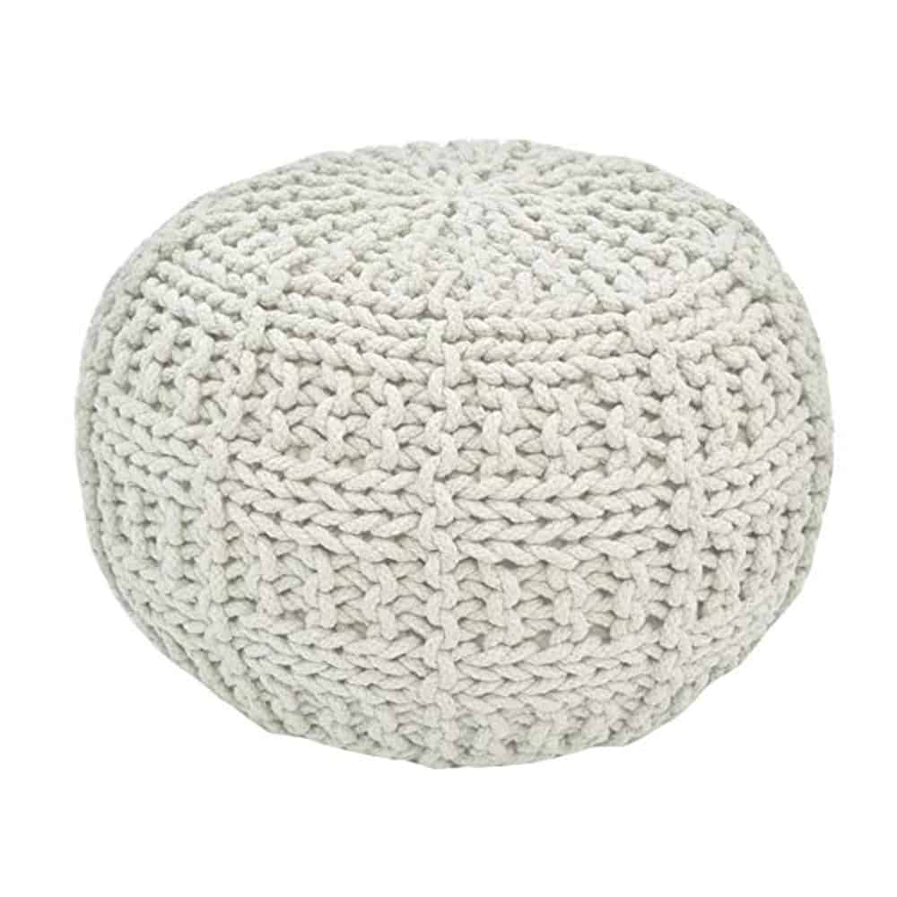 light grey basket stitch pouf ottoman