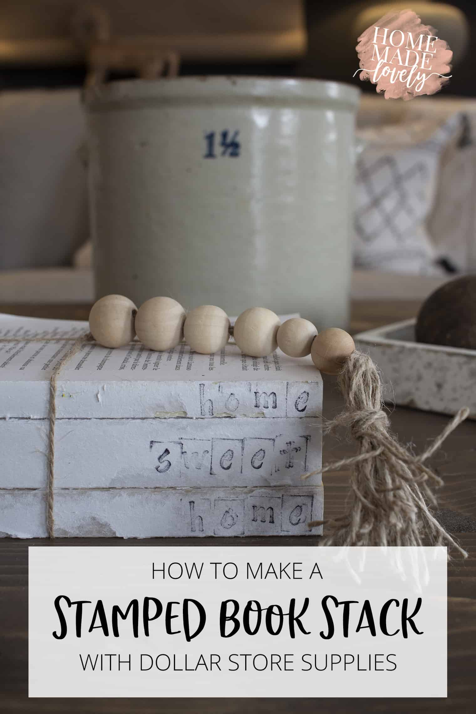 Deconstructed Stamped Book Stack pin