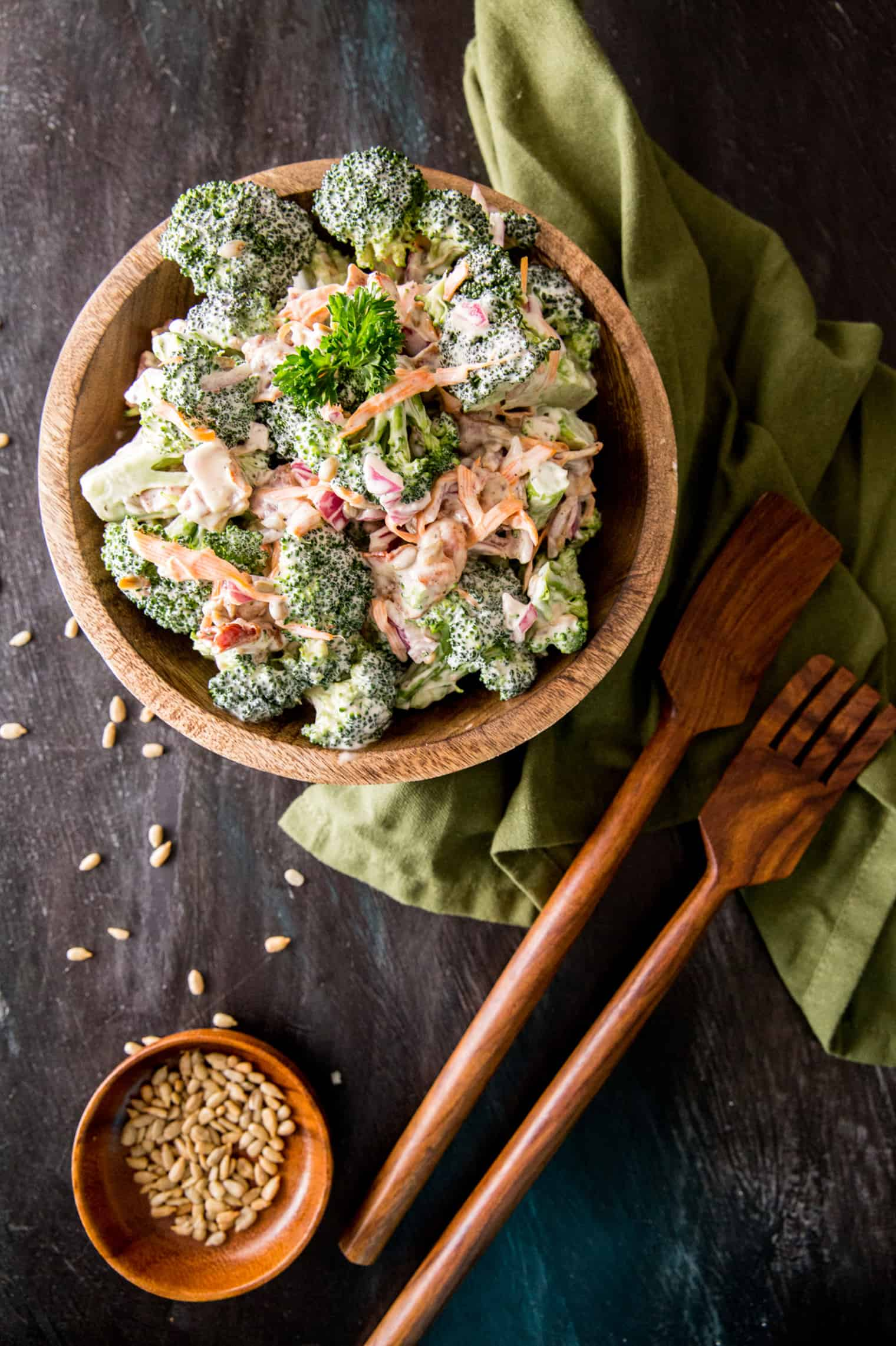 crunchy broccoli salad with bacon in a bowl