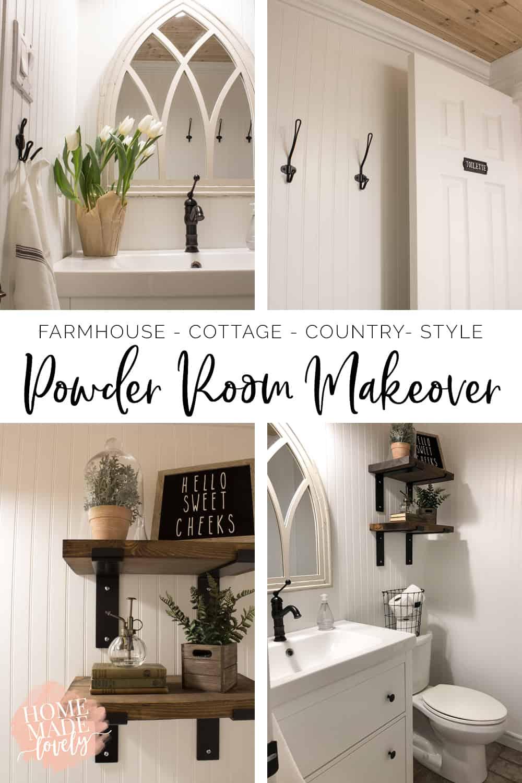 farmhouse powder room makeover pin