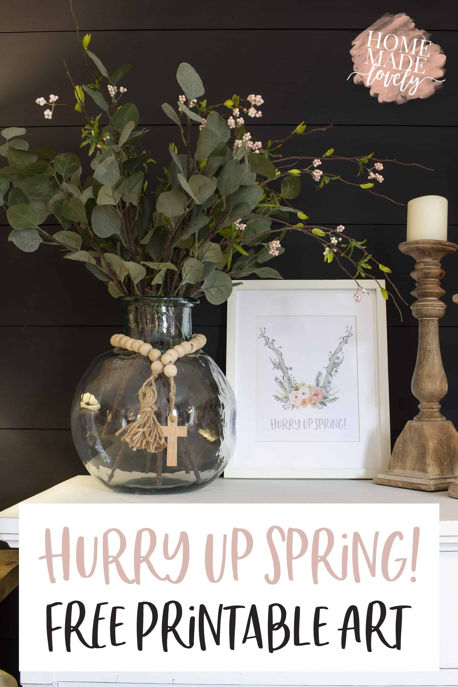 Hurry Up Spring Free Printable Art pin