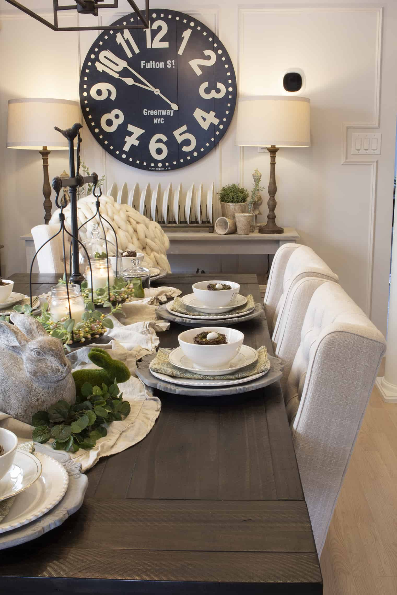 modern farmhouse spring table setting