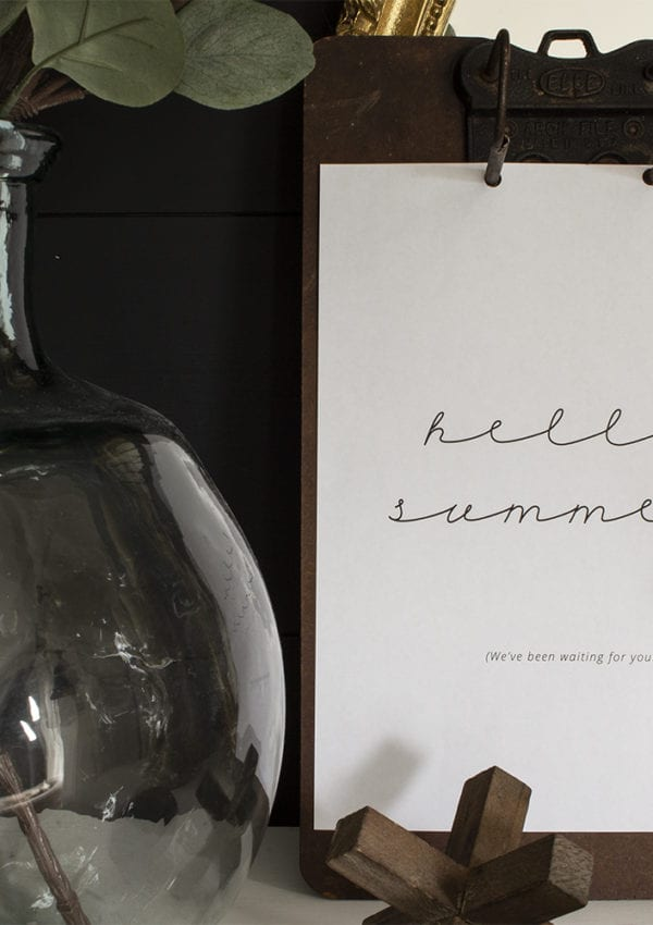 How to Mix Seasonal Decor into a Neutral Home + Hello Summer! Free Printable Art