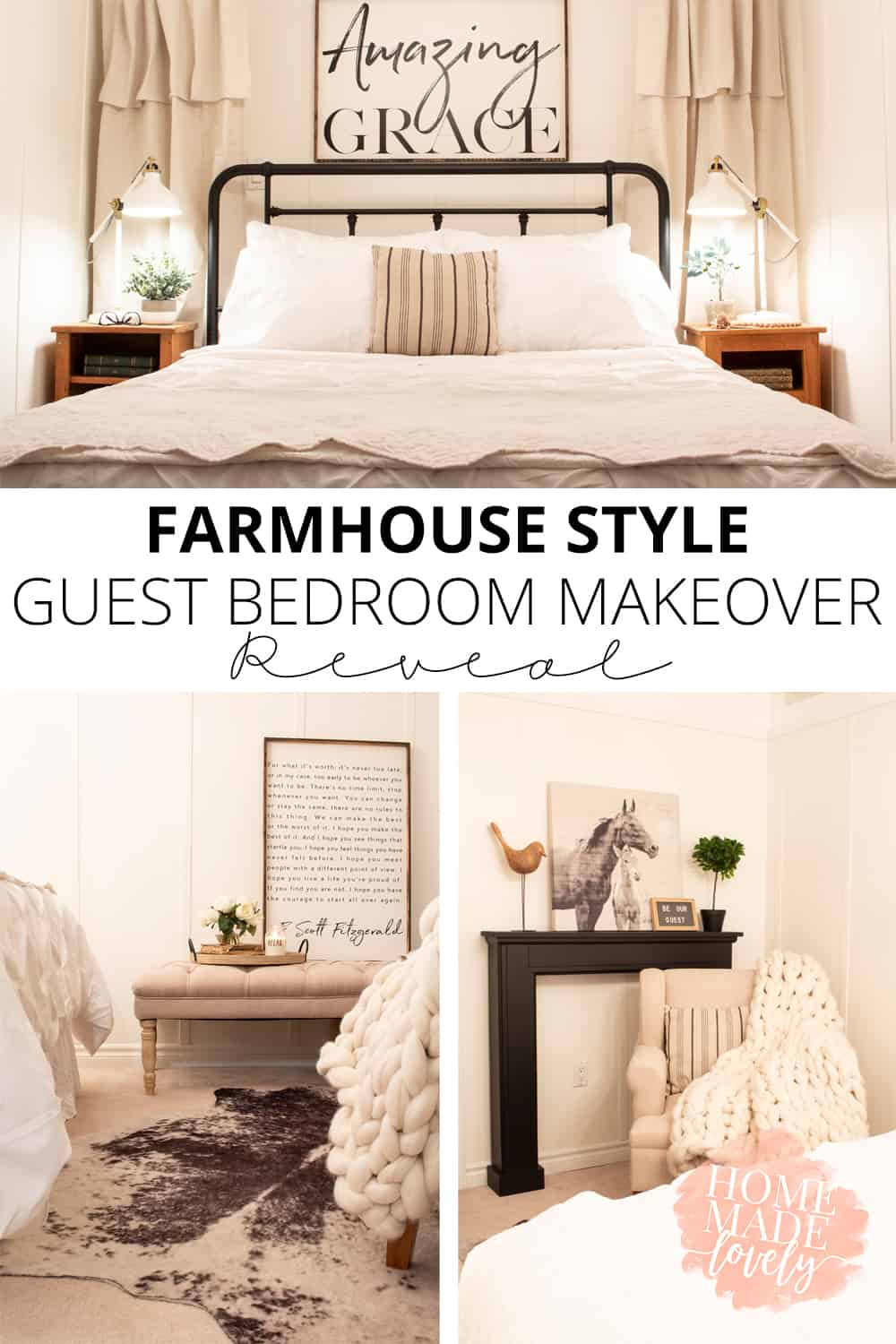 farmhouse style guest room makeover pin