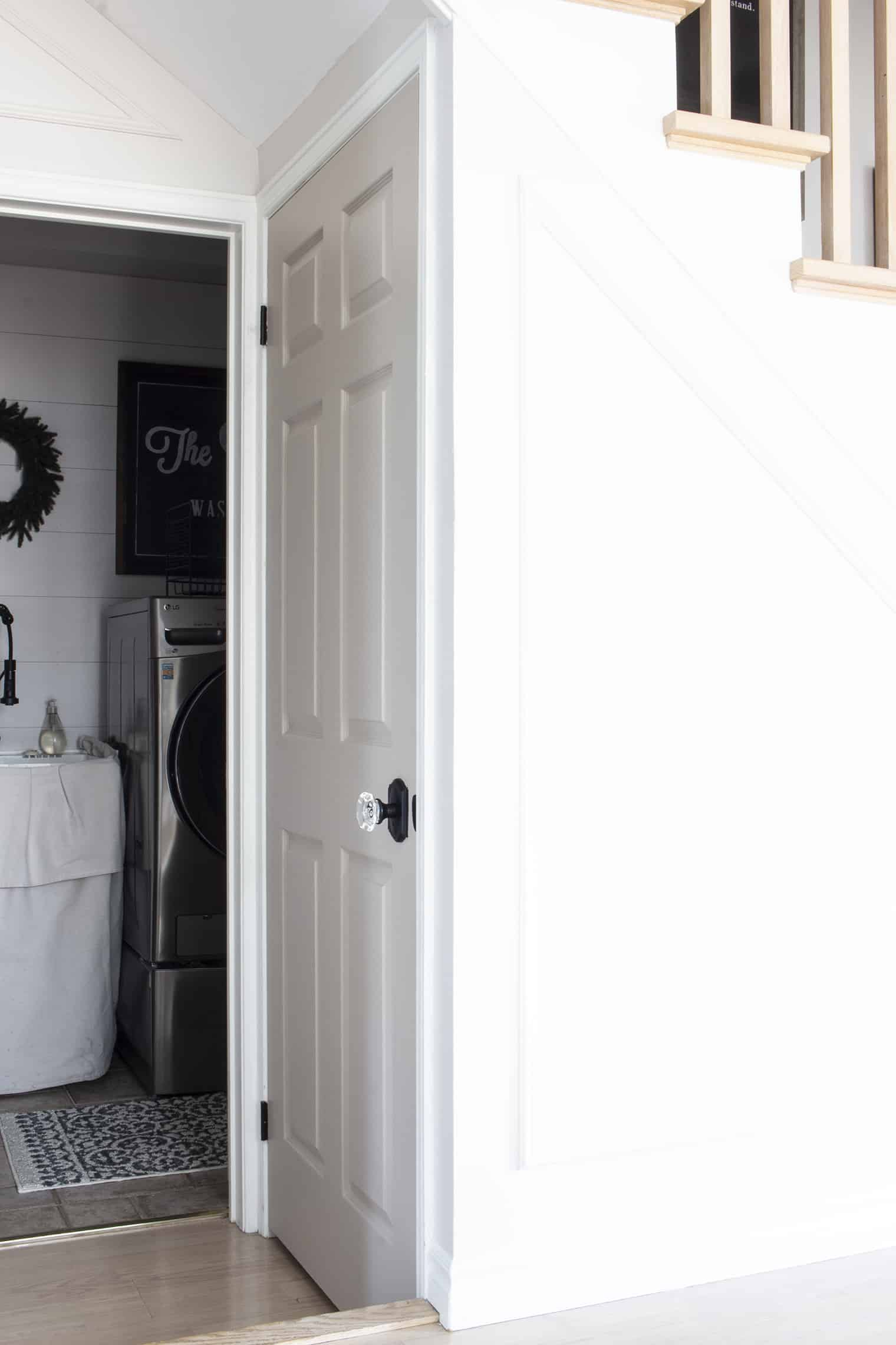 basement door near laundry room