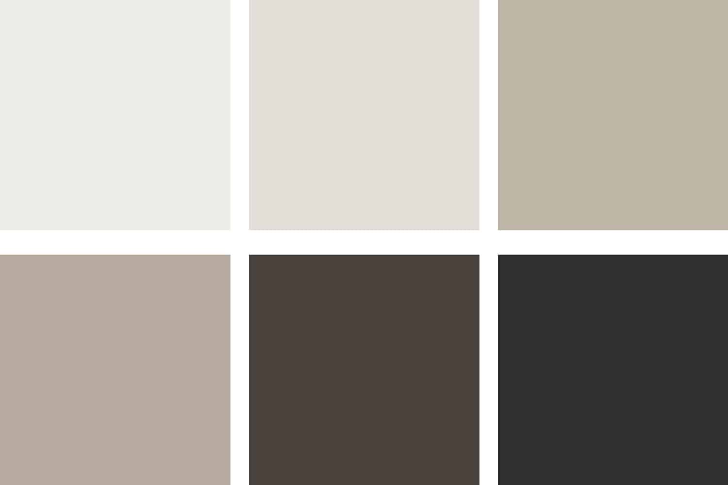 6 squares of colored neutrals to illustrate a monochromatic paint palette