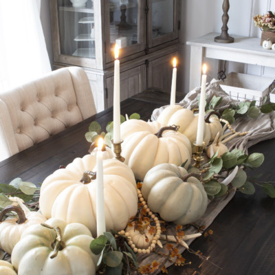 fall pumpkin centerpiece with faux