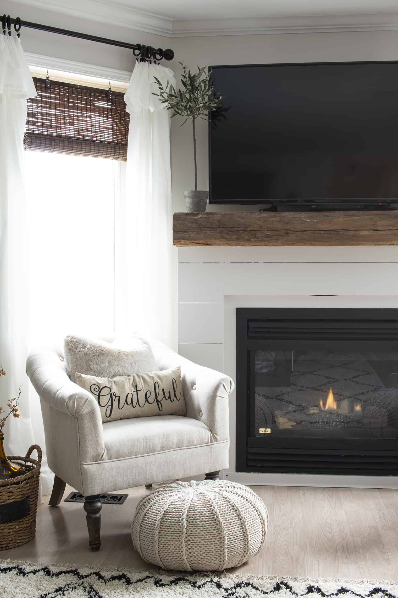 farmhouse style fireplace corner
