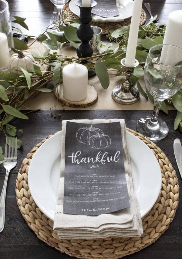 Chalkboard Thankful Conversation Starters (Free Printable)
