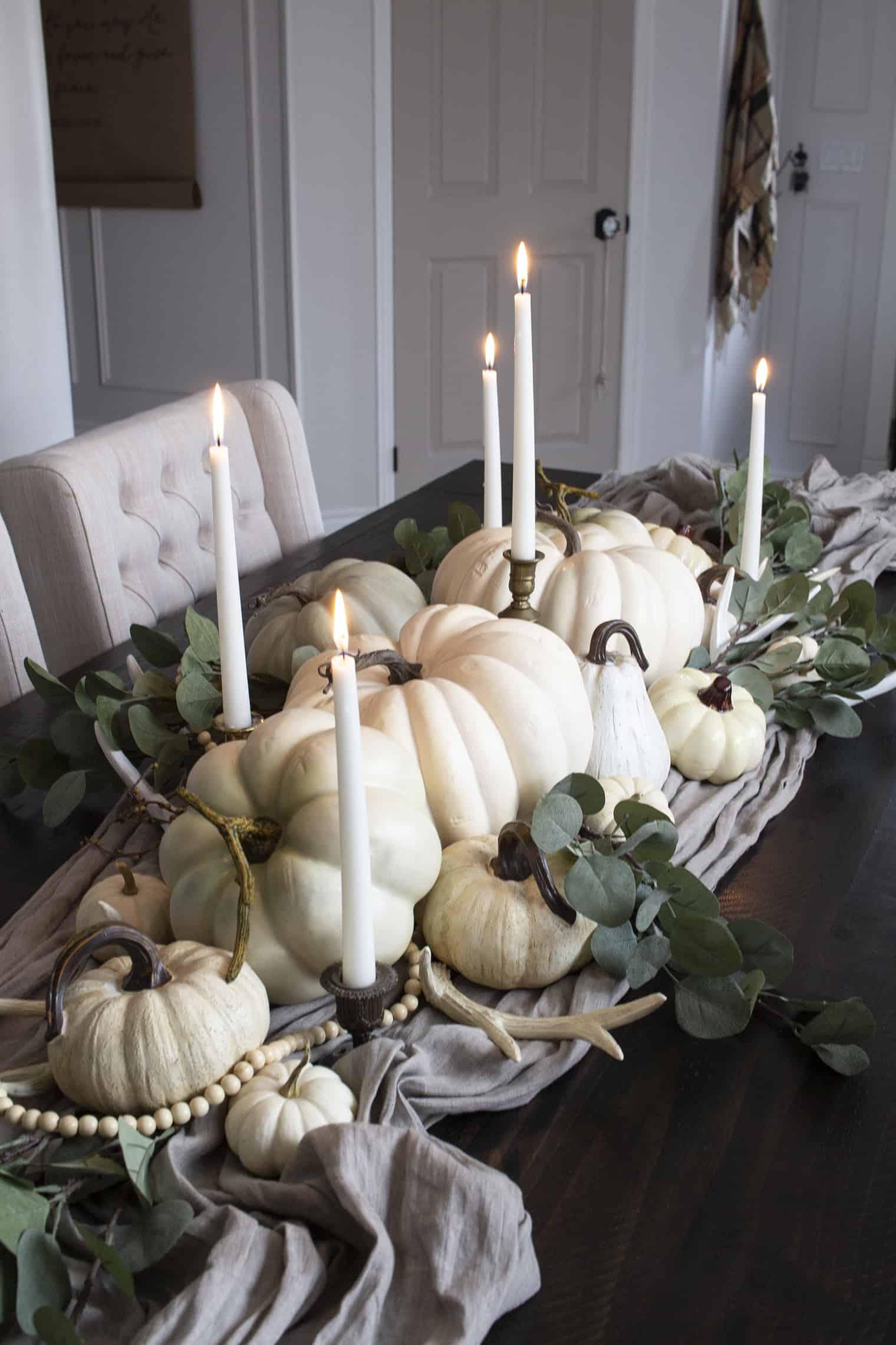 white pumpkin pile centerpiece