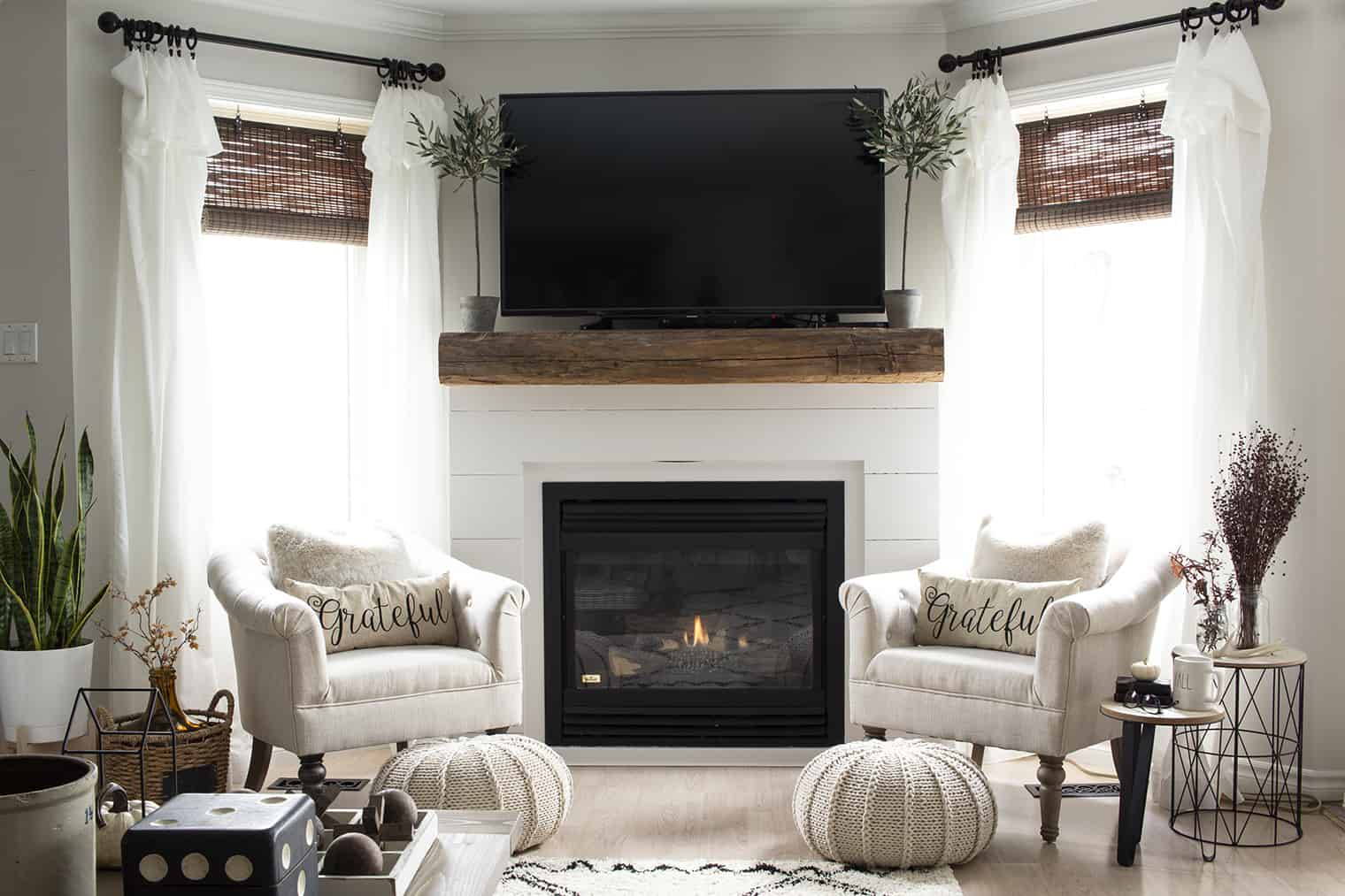white shiplap and barn beam mantel