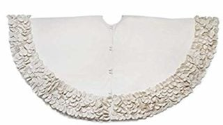 Cream Ruffled Flower Border Christmas Recycled Wool Tree Skirt