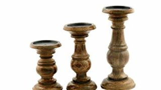 """Deco 79 51536 Wood Candle Holder (Set of 3) 10"""", 8"""", 6""""H Brown"""