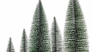 5 Pieces Artificial Mini Christmas Sisal Snow Frost Trees with LED Fairy String Light, Bottle Brush Trees Plastic Winter Snow Ornaments Tabletop Trees for Christmas Party Home Decoration