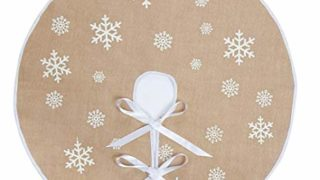 Burlap Tree Skirt White Snowflake