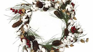 Real Full White Cotton Wreath Farmhouse Decor Christmas Vintage Wreath Home Decoration 1 Pack (Outer Diameter: 50cm /19.7 Inch)