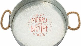 Brownlow Gifts Galvanized Metal Round Serving Tray Merry and Bright