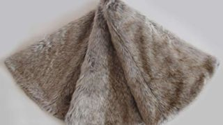 Soft Plush Faux Fur Brown Grey Christmas Tree Skirt
